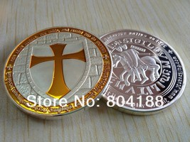 Knights Templar Coin V Yellow Cross / Masonic Coin .999 Silver - $5.90