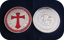 Knights Templar Coin V Red Cross / Masonic Coin .999 Silver - $5.90