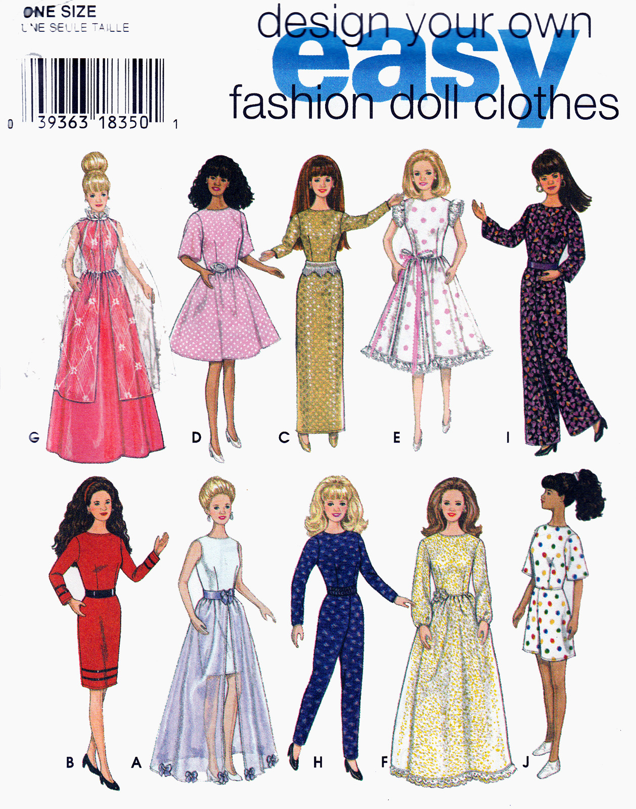 Primary image for EASY BARBIE DOLL WARDROBE GOOD VARIETY SEWING PATTERN SIMPLICITY 9838  UNCUT OOP