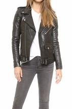 Black Women's Slim Fit Biker Style Real Leather Jacket - NF 4 - $109.99