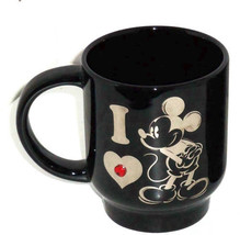 Disney Store I Love Mickey Mouse Coffee Mug Cup Red Gemstone Studs Black NEW  - $64.95
