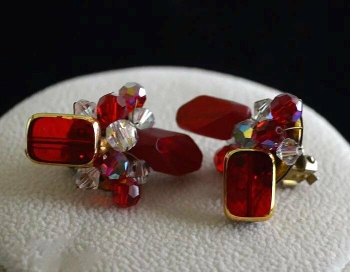 Vintage Ruby Colored Cut Crystal Strand Necklace & Earring Set