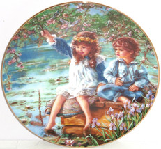 Patience Fishing Boy Girl Collector Plate Reco International Vintage 1991 - $59.95