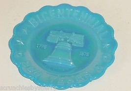 Carnival Glass Joe St Clair Blue Collector Plate 1776 1976 Bicentennial ... - $14.95