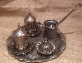 2 person turkish porcelain Coffee set with pot tray sugar bowl and cups ... - £31.19 GBP+