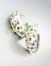 SHIMMERY Chic Alexis Aurora Borealis Crystals White Resin Hoop Earrings - $16.99