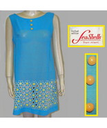 Seashells Miami 60s mini dress blue yellow daisies semi sheer med - $12.50