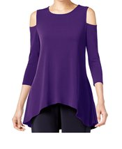 DBG Women's Cold Shoulder Top Three Quarter Sleeves-XS - $24.74