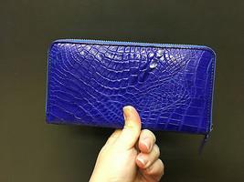 GENUINE CROCODILE SKIN LEATHER MEN'S ZIPPER WALLETS BLUE NEW PURSE ALLIG... - $211.28