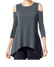 DBG Women's Cold Shoulder Top Three Quarter Sleeves-S - $24.74