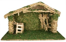 "Nativity Stable Creche - Wood and Moss Christmas Decoration - 9""H x 14.7... - €20,94 EUR"