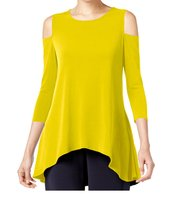 DBG Women's Cold Shoulder Top Three Quarter Sleeves-L - $24.74
