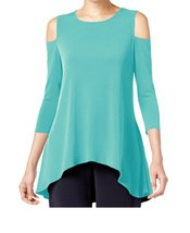 DBG Women's Cold Shoulder Top Three Quarter Sleeves-M - $24.74