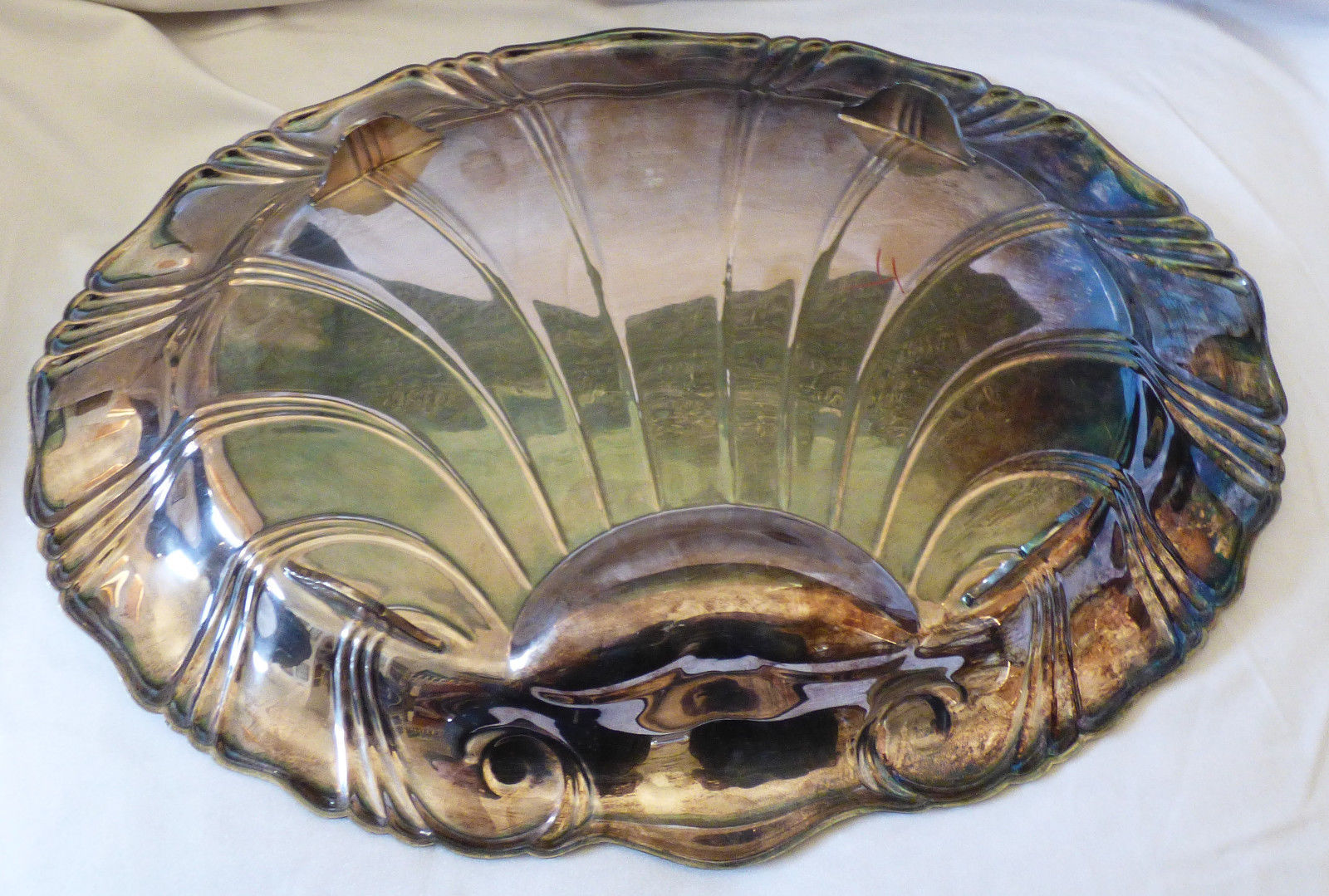 VTG 1847 Rogers Neptune signed Large Silverplate footed serving Tray shell