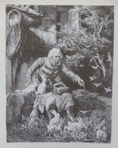 Bunnies, Idyllic scene, Old Art print, Steel engraving, Reprint, Andriol... - $15.99