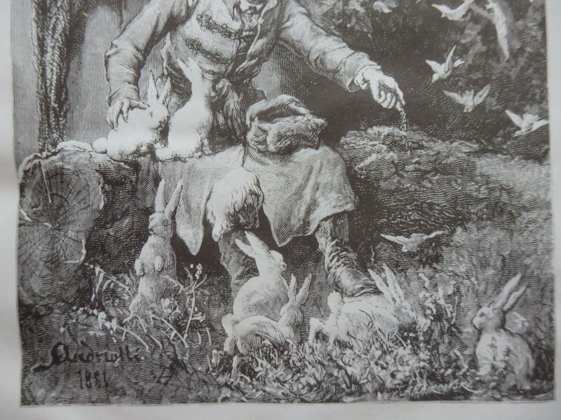 Bunnies, Idyllic scene, Old Art print, Steel engraving, Reprint, Andrioli 1881