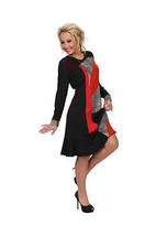 S'Quise Paris: Asymmetrical Color Pieced Knee Length Dress - $88.00