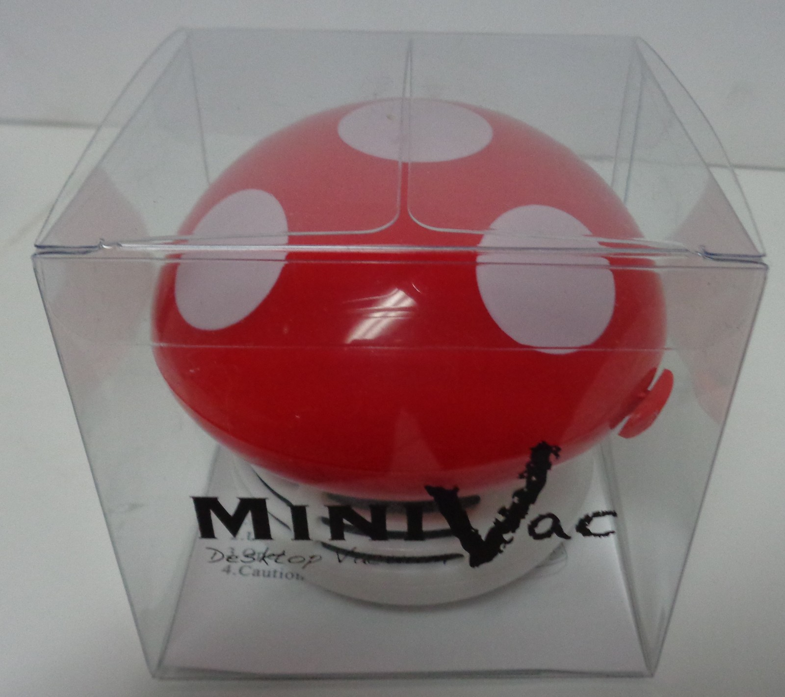 Red Mushroom Mini Vac Table Top NIB Battery Powered