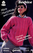 MORE HURRY KNITS QUICK 'N EASY BEEHIVE PATONS 454 SWEATERS PULLOVERS JAC... - $4.98