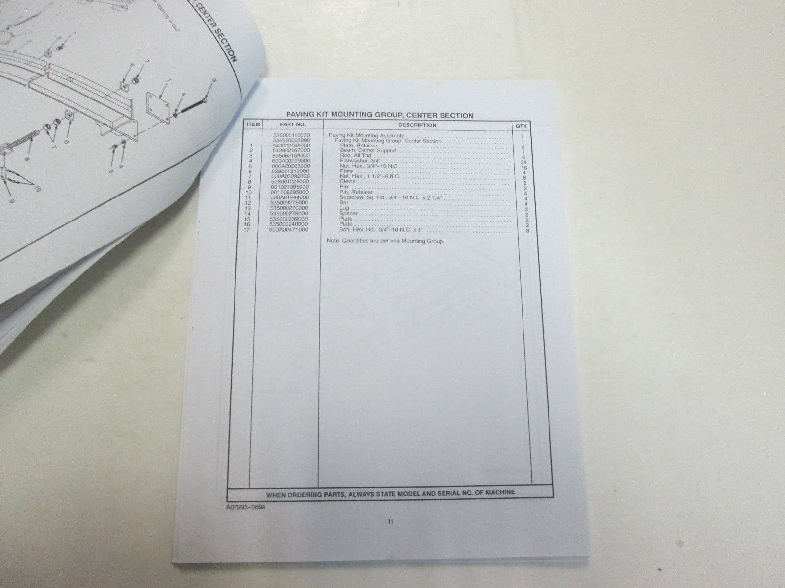 2000 CMI Corporation Series II Slipform Paving Kit Parts Manual FACTORY OEM DEAL