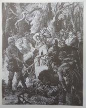 Hunting scene, Old Art print, Steel engraving, reprint, Book illustratio... - $15.99