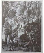 Hunting scene, Old Art print, Steel engraving, reprint, Book illustratio... - $15.99