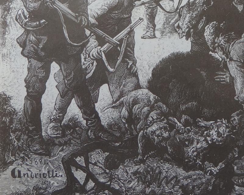 Hunting scene, Old Art print, Steel engraving, reprint, Book illustration, 1881