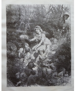 Woman, Idyllic scene, Old Art print, Steel engraving, reprint, Book illu... - $15.99
