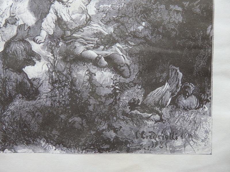 Woman, Idyllic scene, Old Art print, Steel engraving, reprint, Book illustration