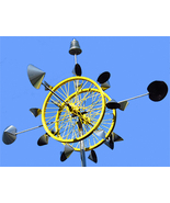 """KINETIC WIND SCULPTURE """"THE VENUSIAN"""" -20"""" wheels rotating in opposite d... - $299.00"""