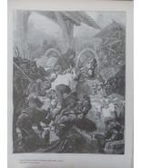 Animals, Cattle, Ethnic scene, Old Art print, Steel engraving, reprint, ... - $15.99