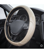 """New BEIGE S.LEATHER PREMIUM HIGH QUALITY STEERING WHEEL COVER 14.96"""" - $29.69"""