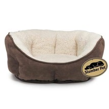 Dog Nesting Bolster Bed Brown Thermal Lined Warm Soft Sherpa Comfort Choose Size - $40.52+