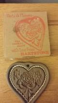 Vintage Hartstone Clay Cookie Mold - harts & flowers - $3.99