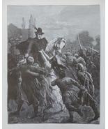 Woman, Horse, Rider, Romantic scene, Vintage Art print, Steel engraving,... - $15.99