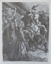 Horse, Rider,  Historical scene, Vintage Art print, Steel engraving, rep... - $15.99