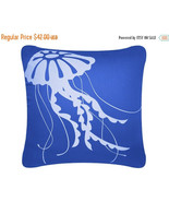 ON SALE Jellyfish Blue Wabisabi Green Throw Pillow Cover, White on Blue,... - $24.95