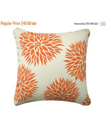 ON SALE Dahlia Flower Wabisabi Green Throw Pillow Cover, Green, Orange, ... - $24.95