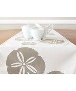 ON SALE Sand Dollar Wabisabi Green Table Runner, Ivory or Blue, 16 x 90-... - $29.95