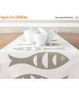 ON SALE Fish Wabisabi Green Fabric Table Runner, Ivory or Blue, 16 x 90-... - $29.95