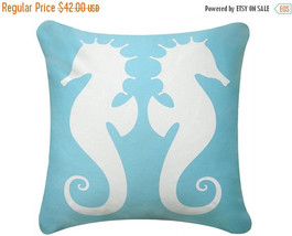 ON SALE Seahorse Wabisabi Green Throw Pillow Cover, Beige or Brown, 18 x 18 Inch - $19.95