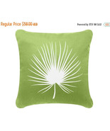 ON SALE Palm Frond Wabisabi Green Throw Pillow Cover, Green, 18 x 18-Inch - $24.95