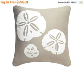 ON SALE Sand Dollar Wabisabi Green Throw Pillow Cover, Beige, Blue, 18 x 18 Inch - $24.95