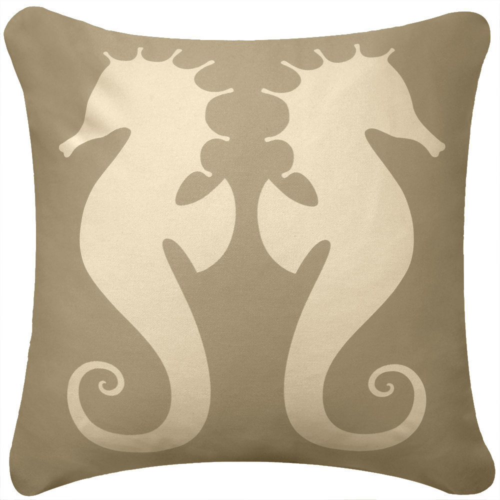 ON SALE Seahorse Wabisabi Green Throw Pillow Cover, Beige or Brown, 18 x 18 Inch
