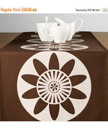 "ON SALE Passion Flower Wabisabi Green Table Runner, Chocolate Brown, 16""... - $29.95"