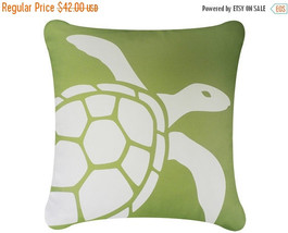 ON SALE Sea Turtle Wabisabi Green Throw Pillow Cover, Green or Blue, 18x18-Inch - $24.95