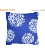 ON SALE Blue Dahlia Flower Wabisabi Green Throw Pillow Cover, Blue, 18 x... - $19.95