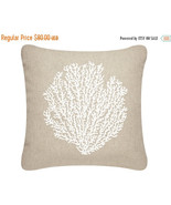 ON SALE Sea Fan Wabisabi Green Outdoor Throw Pillow Cover, White, Beige,... - $39.95