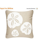 ON SALE Sand Dollar Wabisabi Green Outdoor Throw Pillow Cover, Beige, 18... - $39.95