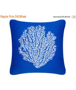 ON SALE Coral Sea Fan Wabisabi Green Throw Pillow Cover, Blue or Brown, ... - $24.95